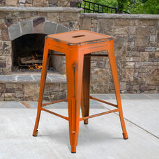 """Commercial Grade 24"""" High Backless Distressed Orange Metal Indoor-Outdoor Counter Height Stool"""