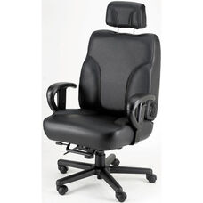 Backsaver Contoured Seat Office Chair with Adjustable Headrest- Fabric