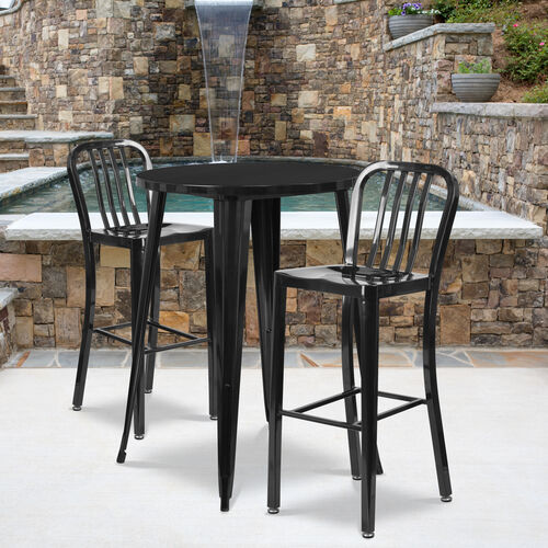 """Commercial Grade 30"""" Round Metal Indoor-Outdoor Bar Table Set with 2 Vertical Slat Back Stools"""