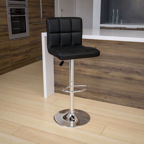 Contemporary Quilted Vinyl Adjustable Height Barstool with Chrome Base