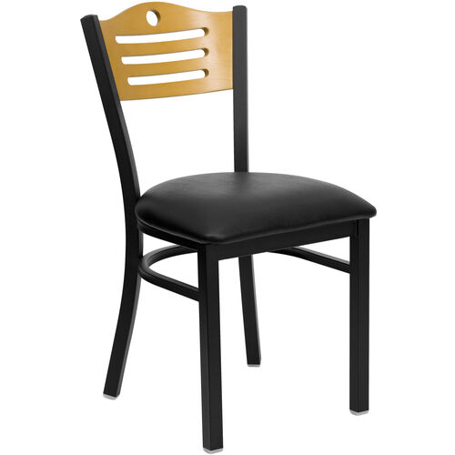 Our Black Slat Back Metal Restaurant Chair with Natural Wood Back & Black Vinyl Seat is on sale now.