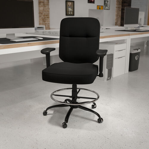 HERCULES Series Big & Tall 400 lb. Rated Ergonomic Drafting Chair with Rectangular Back and Adjustable Arms