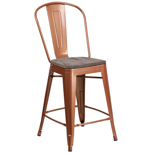 "Our 24"" High Copper Metal Counter Height Stool with Back and Wood Seat is on sale now."