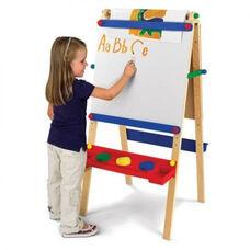 Kids Wooden Adjustable Artist Easel with Paper Roll Dispenser -Natural