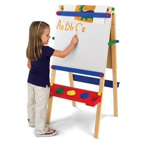 Our Kids Wooden Adjustable Artist Easel with Paper Roll Dispenser -Natural is on sale now.