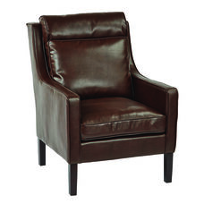 Ave Six Colson Bonded Leather Arm Chair with Brown Brushed Legs - Cocoa