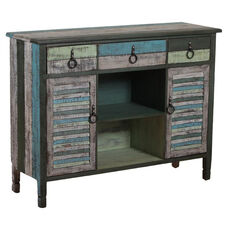 Calypso Three Drawer and Two Door Server - Blue and Green