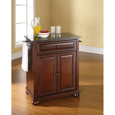 Solid Black Granite Top Portable Kitchen Island with Alexandria Feet - Vintage Mahogany Finish