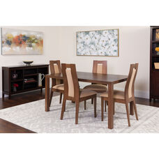 Beckham 5 Piece Walnut Wood Dining Table Set with Curved Slat Wood Dining Chairs - Padded Seats
