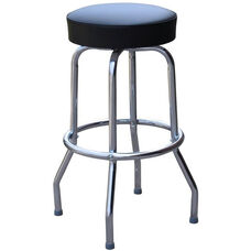 50's Retro Backless 30''H Swivel Bar Stool with Chrome Frame and Padded Seat - Black Vinyl