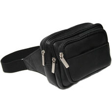 Multi Compartment Fanny Pack - Colombian Vaquetta Leather - Black