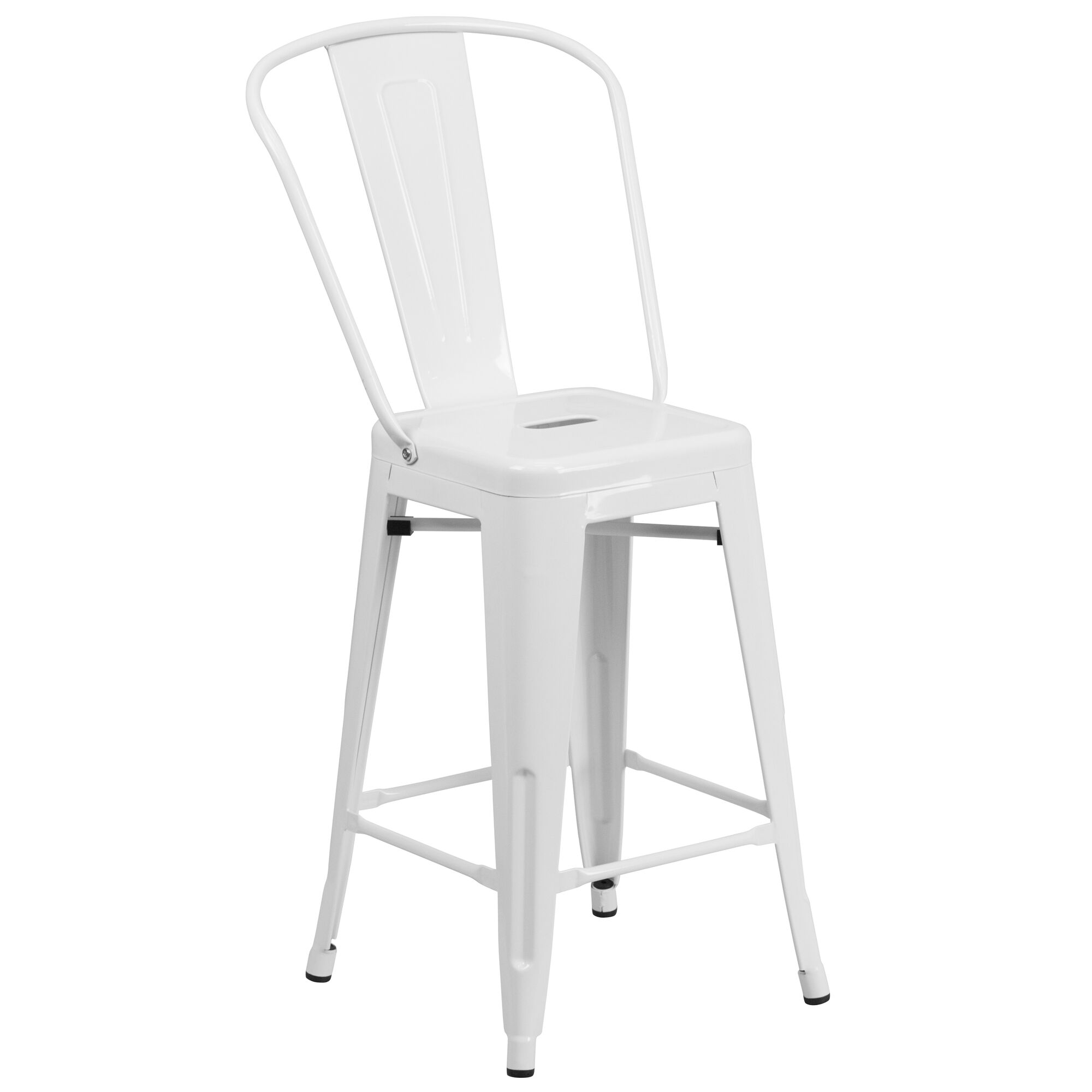 Surprising Commercial Grade 24 High White Metal Indoor Outdoor Counter Height Stool With Back Squirreltailoven Fun Painted Chair Ideas Images Squirreltailovenorg
