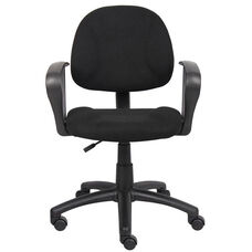 Deluxe Thick Padded Posture Chair with Lumbar Support and Loop Arms - Black