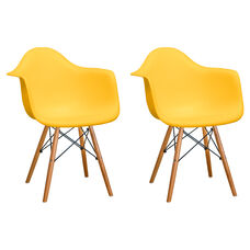 Paris Tower Arm Chair with Wood Legs and Yellow Seat - Set of 2