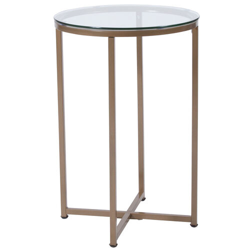 Our Greenwich Collection Glass End Table with Matte Gold Frame is on sale now.
