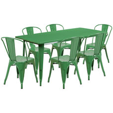 "Commercial Grade 31.5"" x 63"" Rectangular Green Metal Indoor-Outdoor Table Set with 6 Stack Chairs"