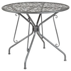 "Agostina Series 35.25"" Round Antique Silver Indoor-Outdoor Steel Patio Table"