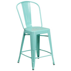 "Commercial Grade 24"" High Mint Green Metal Indoor-Outdoor Counter Height Stool with Back"