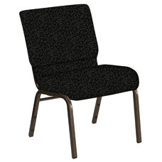 Embroidered 21''W Church Chair in Jasmine Pewter Fabric - Gold Vein Frame