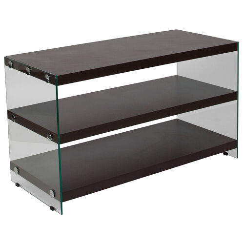 Our Wynwood Collection Dark Ash Wood Grain Finish TV Stand with Shelves and Glass Frame is on sale now.