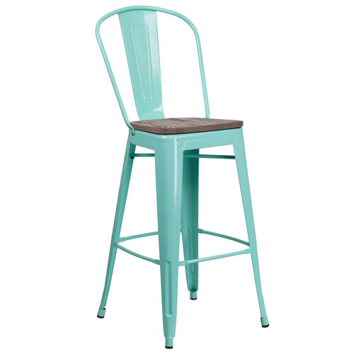 "Our 30"" High Mint Green Metal Barstool with Back and Wood Seat is on sale now."