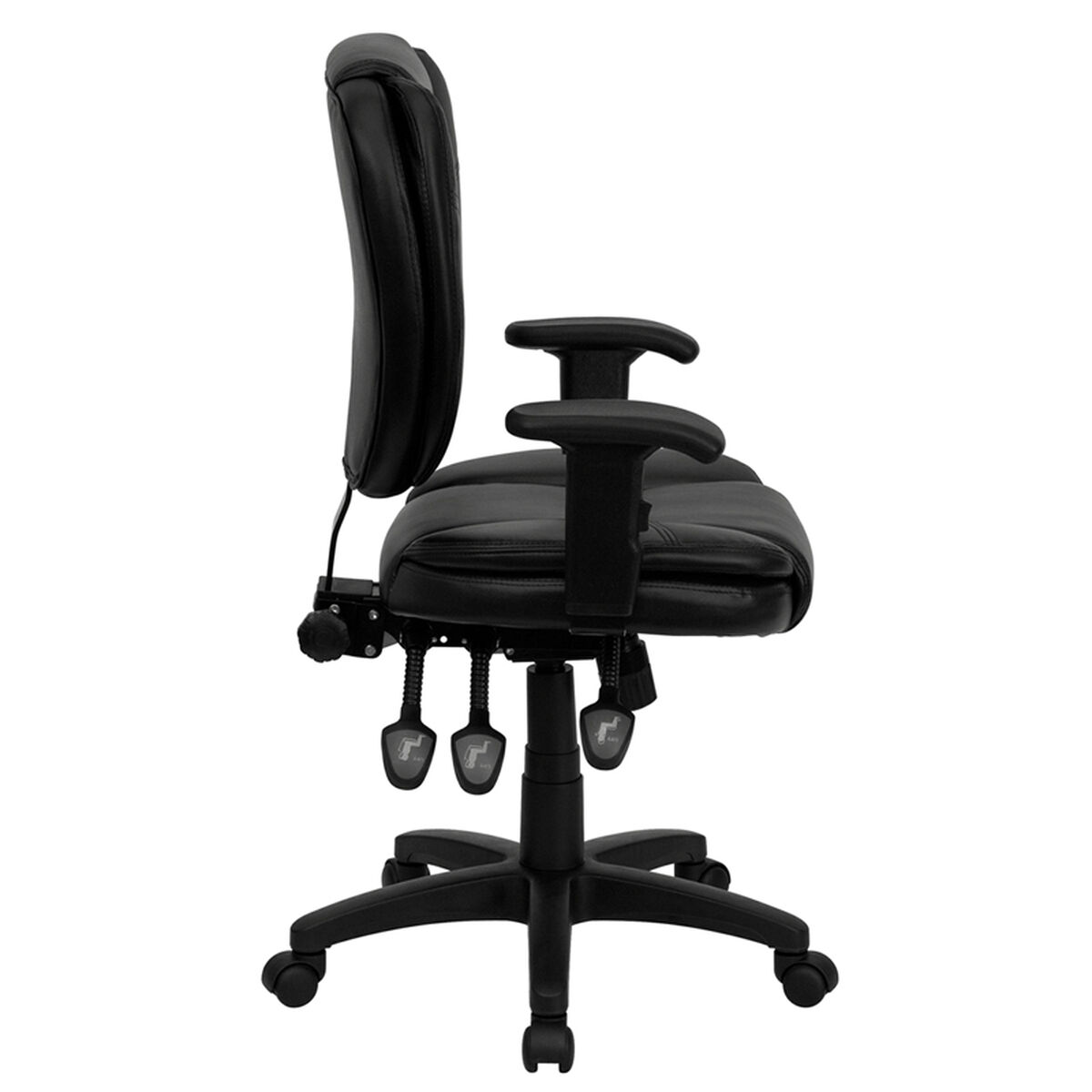 Black Mid Back Leather Chair Go 930f Bk Lea Arms Gg
