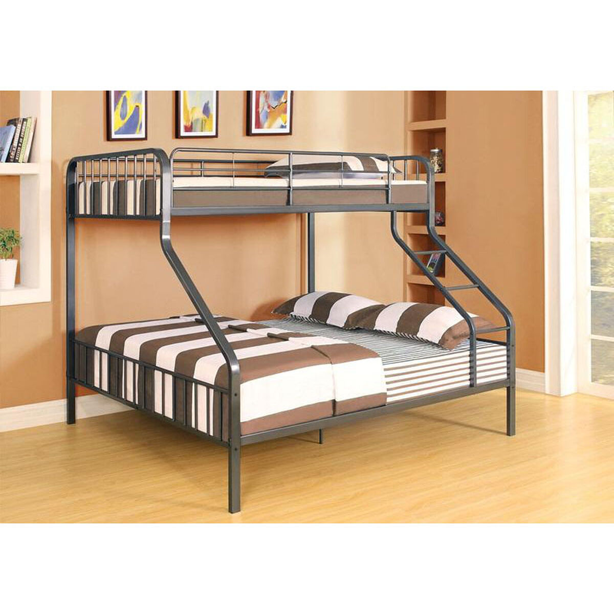 Our Caius Xl Twin Over Queen Metal Bunk Bed Gunmetal Is On Now