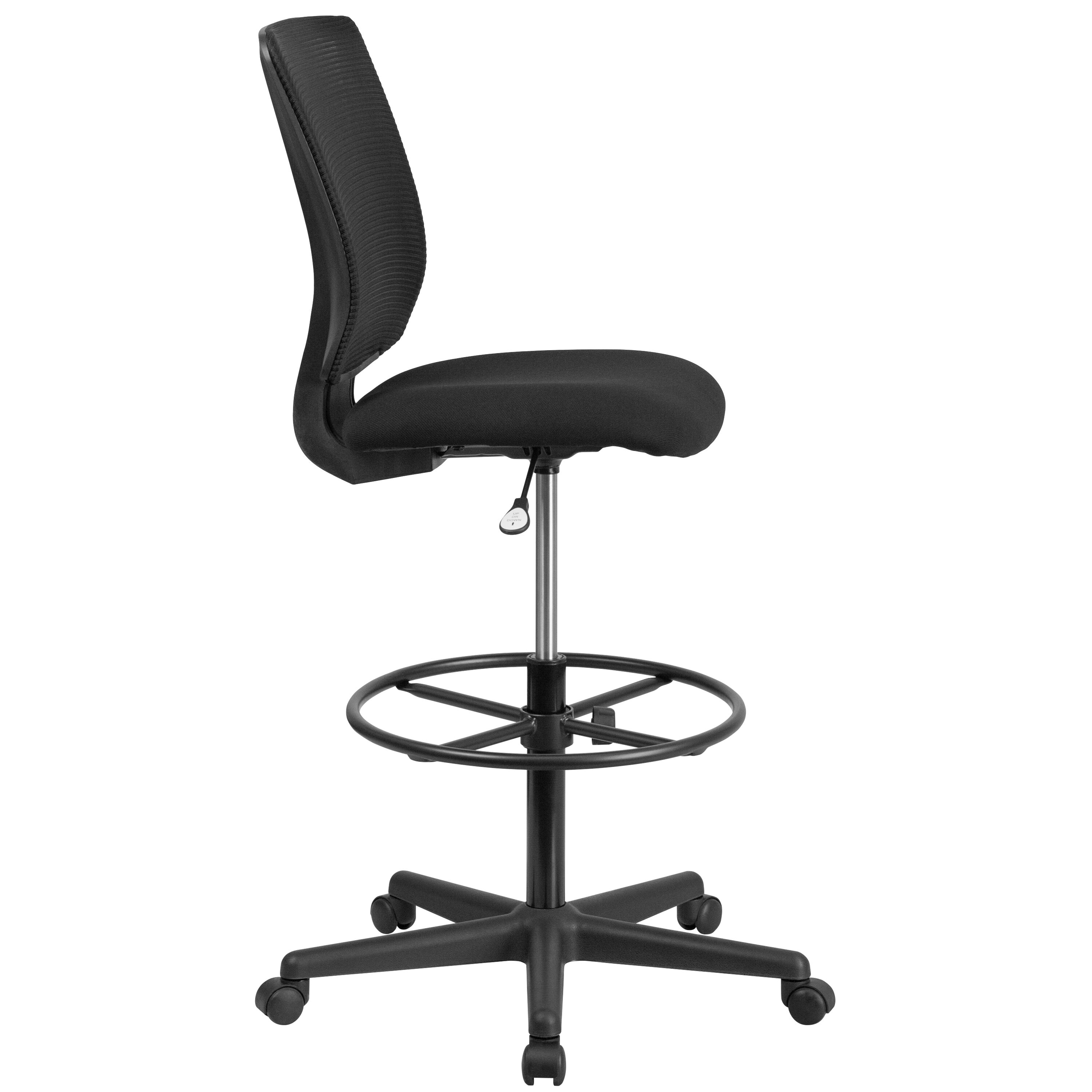 ... Our Ergonomic Mid Back Mesh Drafting Chair With Black Fabric Seat And  Adjustable Foot Ring ...