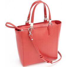 RFID Blocking Mini Tote Cross Body Bag - Saffiano Genuine Leather - Red