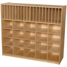 Wooden Multi-Storage Unit with 20 Orange Plastic Storage Trays - 48