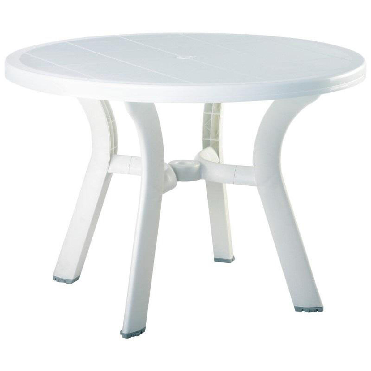 White Outdoor Dining Table ISPWHI Bizchaircom - White outdoor dining table with umbrella hole