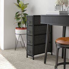 Narrow 4 Drawer Vertical Storage Unit Dresser, Organizer with steel frame, wood top and easy pull fabric drawers - Black/Gray