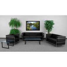 "HERCULES Regal Series Living Room Set in Black LeatherSoft with <span style=""color:#0000CD;"">Free </span> Glass Coffee and End Table"