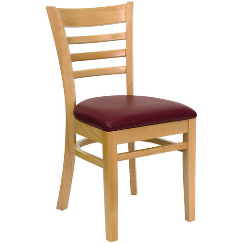 Our Natural Wood Finished Ladder Back Wooden Restaurant Chair with Burgundy Vinyl Seat is on sale now.