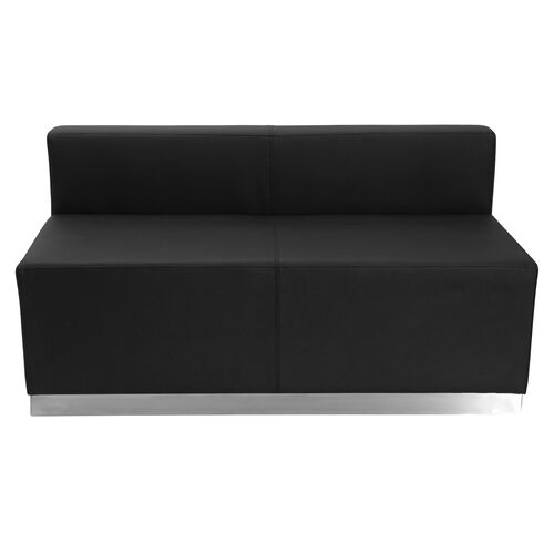 Our HERCULES Alon Series Black Leather Loveseat with Brushed Stainless Steel Base is on sale now.