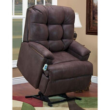 Space Saving Wall-A-Way Reclining Power Lift Chair with Extra Storage and Fold Out Table - Stampede Chocolate Fabric