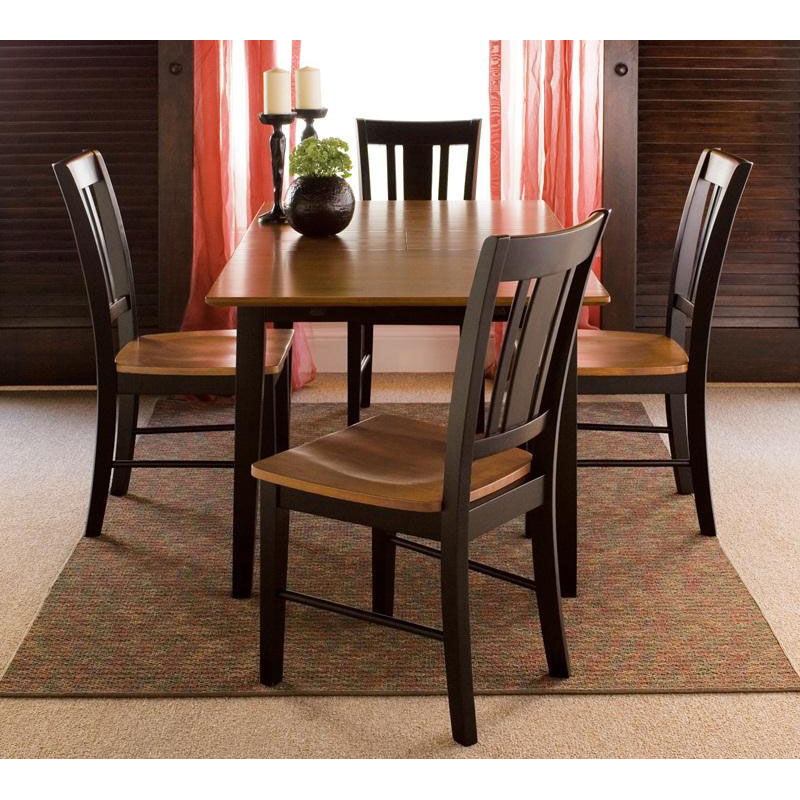 Images. Our Butcher Block Top Solid Wood 5 Piece Dining Table Set With 4  San Remo Armless