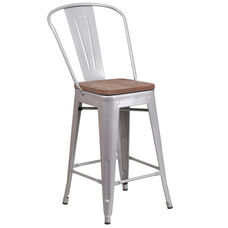 """24"""" High Silver Metal Counter Height Stool with Back and Wood Seat"""