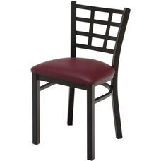 3300 Series Square Steel Frame Armless Cafe Chair with Contoured Grid Shaped Back and Upholstered Seat