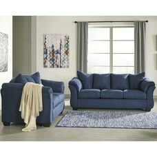 Signature Design by Ashley Darcy Living Room Set in Blue Microfiber