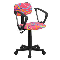 Multi-Colored Swirl Printed Pink Swivel Task Office Chair with Arms