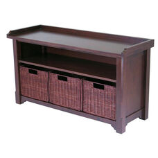 Storage Hall Bench with 3 Baskets