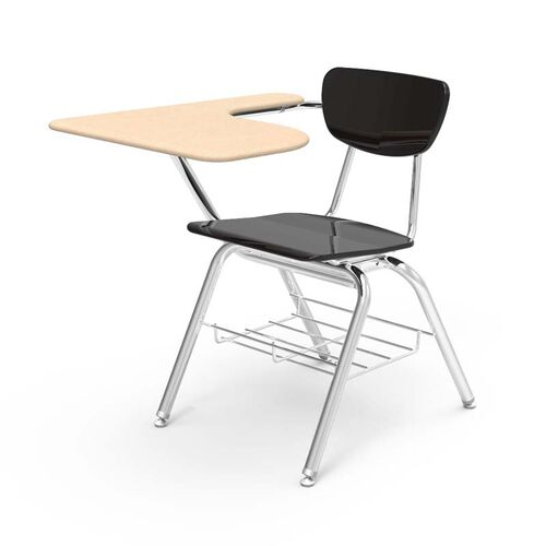 Our 3000 Series Combo Sandstone Hard Plastic Tablet Arm Desk with Black Seat and Chrome Frame - 20