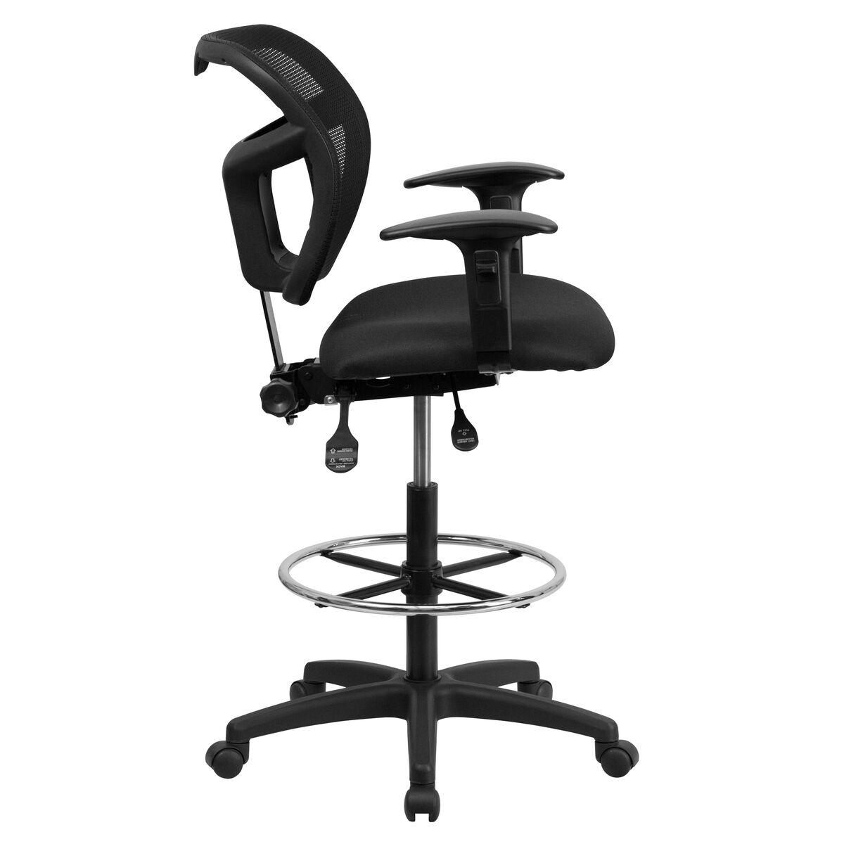 black mesh draft chair w arms wl a7671syg bk ad gg bizchair com