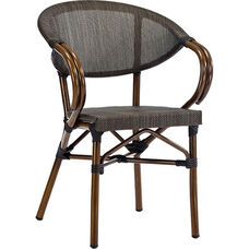 Magellan Outdoor Cast Aluminum Arm Chair with Bamboo Finish