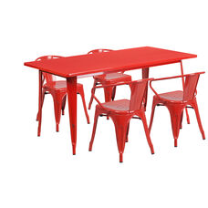 """Commercial Grade 31.5"""" x 63"""" Rectangular Red Metal Indoor-Outdoor Table Set with 4 Arm Chairs"""