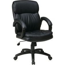 Work Smart Executive Mid Back Eco Leather Chair with Padded Arms and Casters - Black
