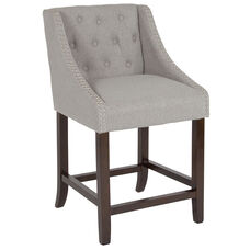 "Carmel Series 24"" High Transitional Tufted Walnut Counter Height Stool with Accent Nail Trim in Light Gray Fabric"