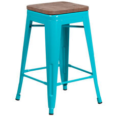 "24"" High Backless Crystal Teal-Blue Counter Height Stool with Square Wood Seat"