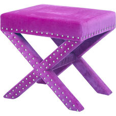 OSP Accents Katie Bench with Silver Nail Heads - Purple Micro Velvet